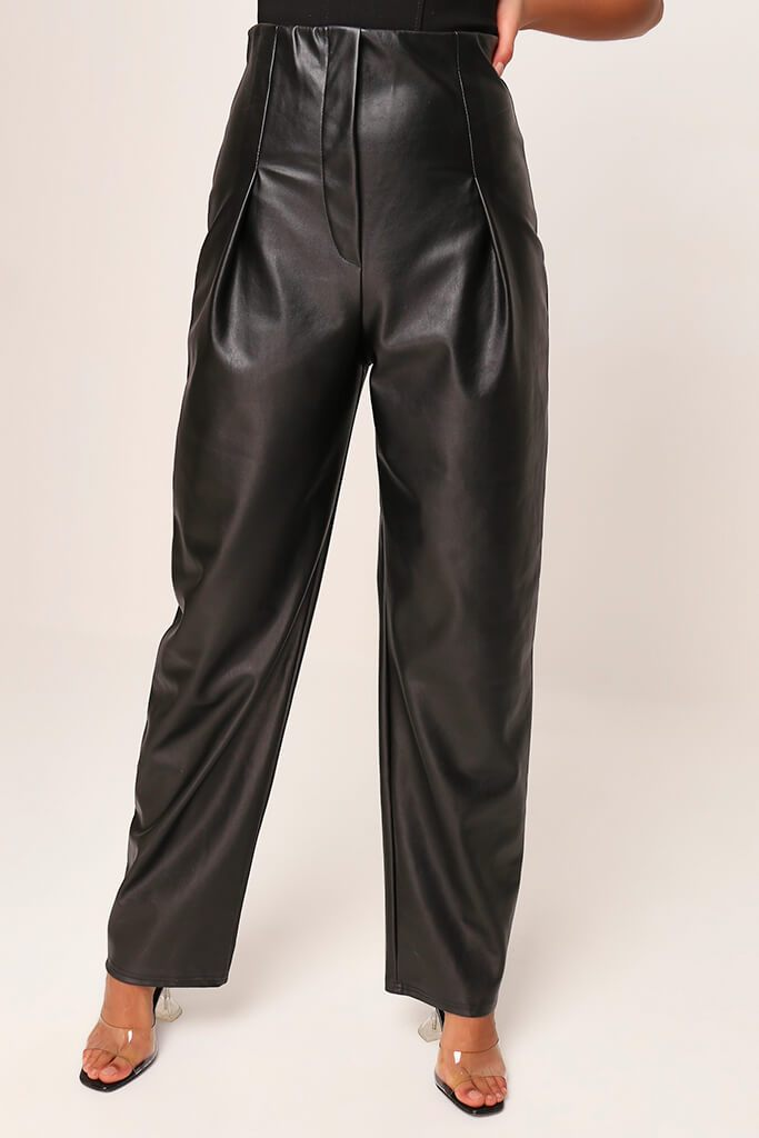 Black Faux Leather Pleated Front Straight Leg Trousers view 2