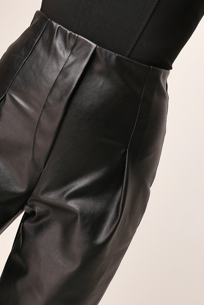 Black Faux Leather Pleated Front Straight Leg Trousers view 4