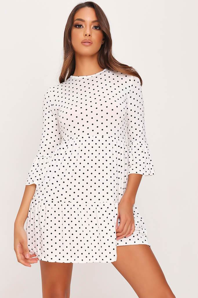 White Polka Dot Tiered Frill Dress