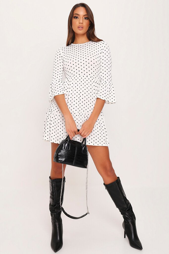 White Polka Dot Tiered Frill Dress view 2
