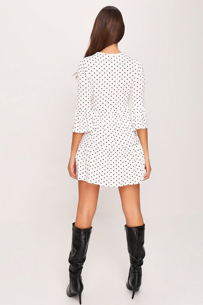 White Polka Dot Tiered Frill Dress view 5