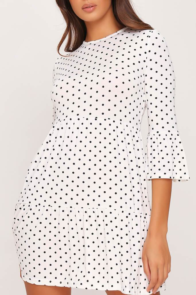 White Polka Dot Tiered Frill Dress view 4
