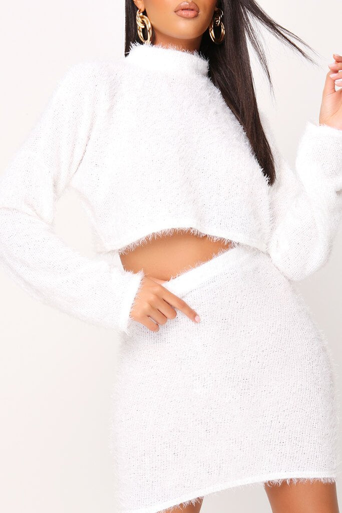 White Eyelash Fur High Neck Long Sleeve Crop Top view 4