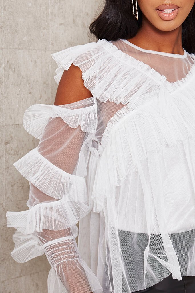 White Frill Mesh Overlay Cold Shoulder Blouse view 4