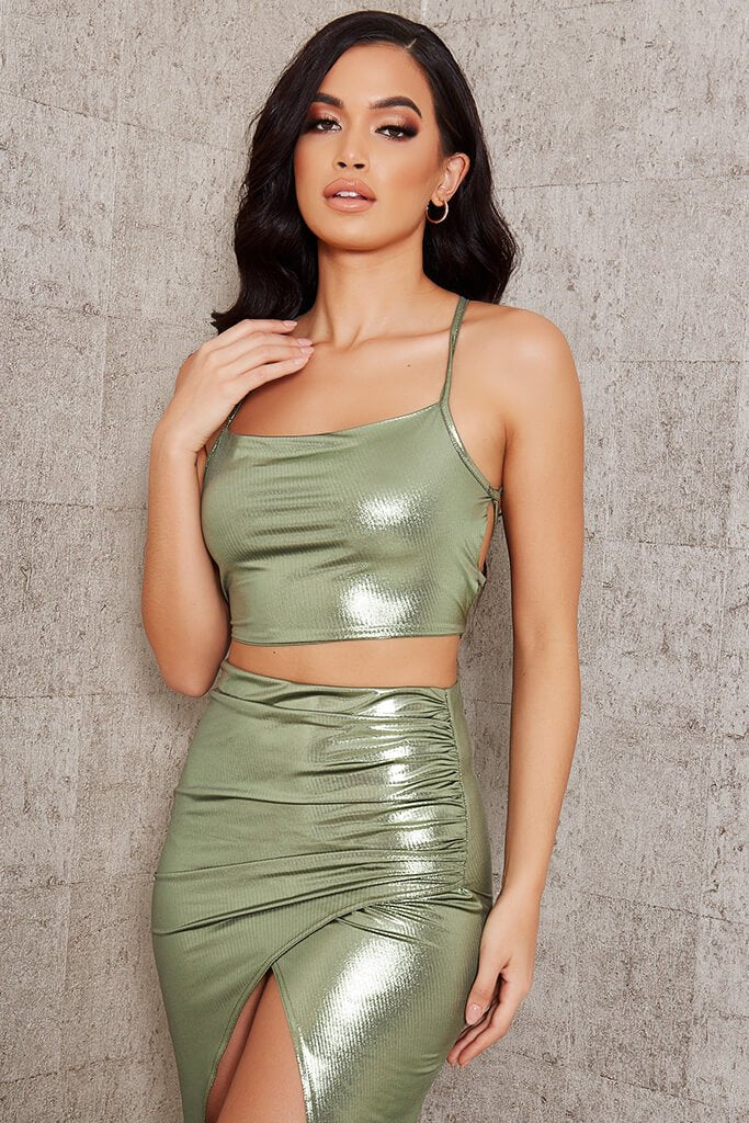 Green Foil Strappy Back Crop Top