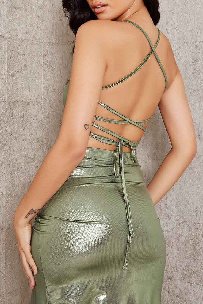 Green Foil Strappy Back Crop Top view 4