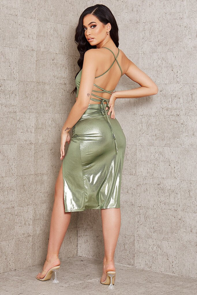 Green Foil Strappy Back Crop Top view 5