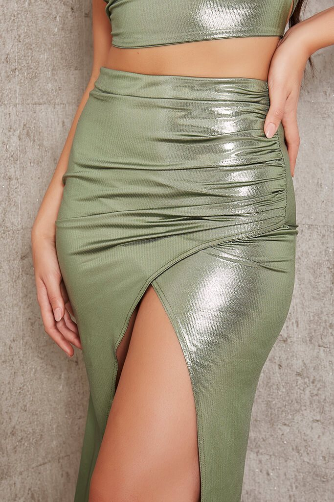 Green Foil Wrap Front Midi Skirt view 4
