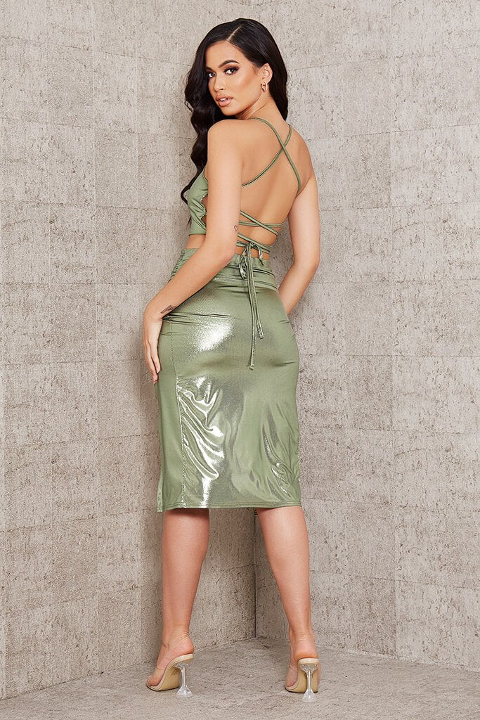 Green Foil Wrap Front Midi Skirt view 5