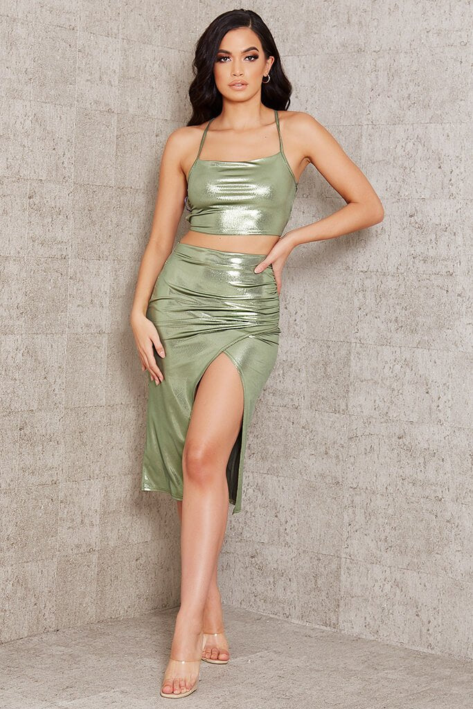 Green Foil Wrap Front Midi Skirt