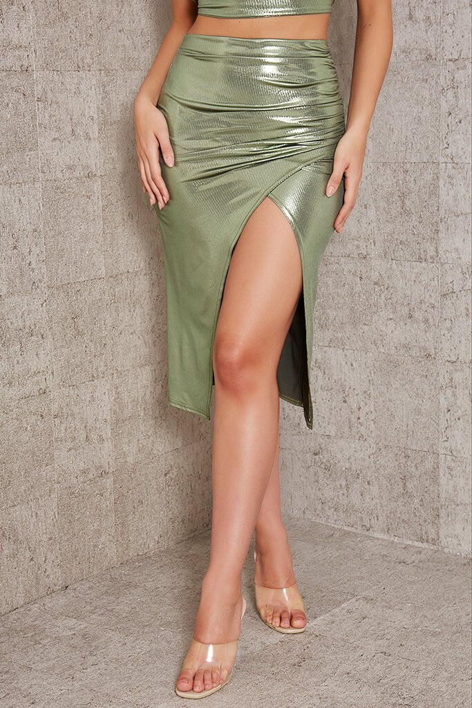 Green Foil Wrap Front Midi Skirt view 2
