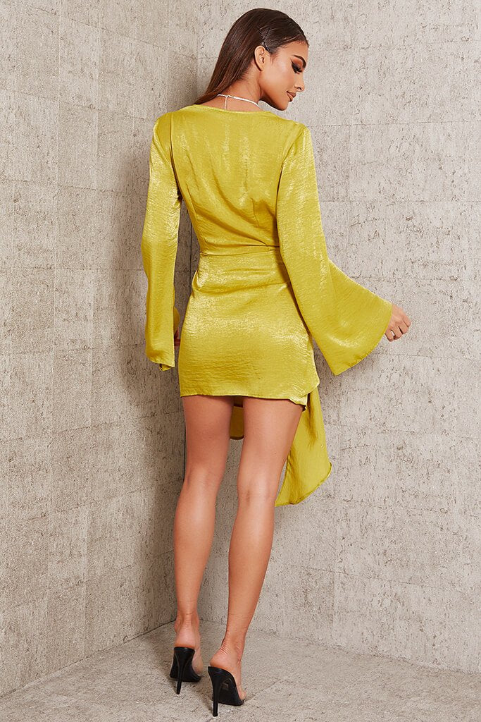 Yellow Hammered Satin Plunge Drape Mini Dress view 5