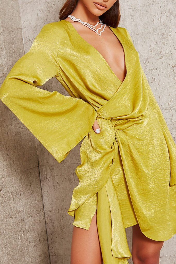 Yellow Hammered Satin Plunge Drape Mini Dress view 4