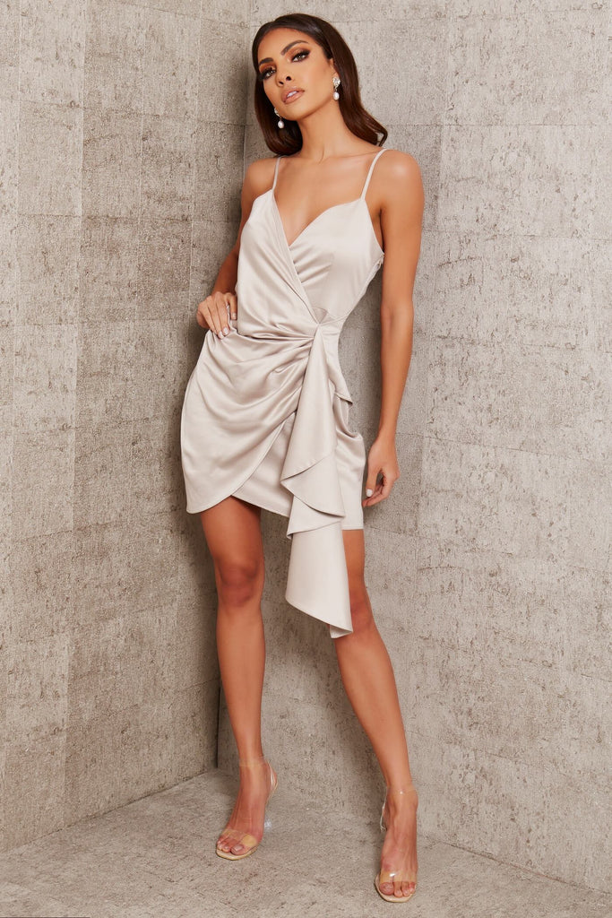 Light Grey Premium Satin Cami Wrap Drape Mini Dress view 2