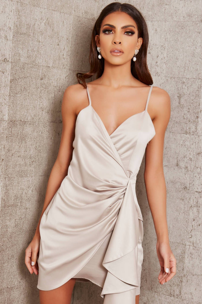 Light Grey Premium Satin Cami Wrap Drape Mini Dress view main view