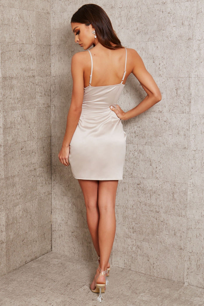 Light Grey Premium Satin Cami Wrap Drape Mini Dress view 5