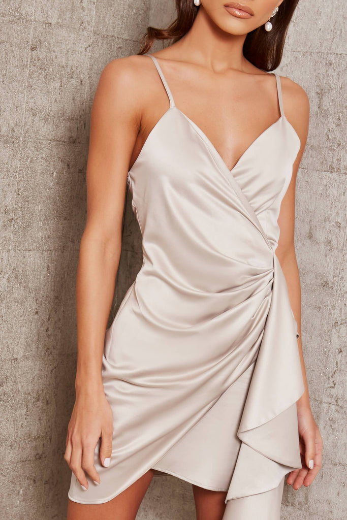 Light Grey Premium Satin Cami Wrap Drape Mini Dress view 4