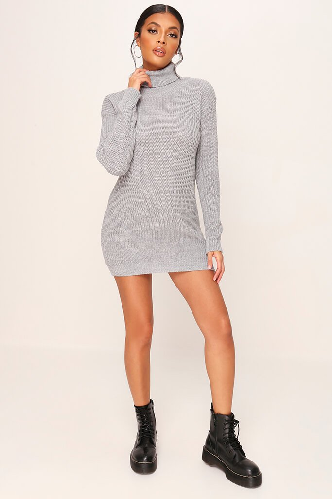 Grey Roll Neck Jumper Dress view 2