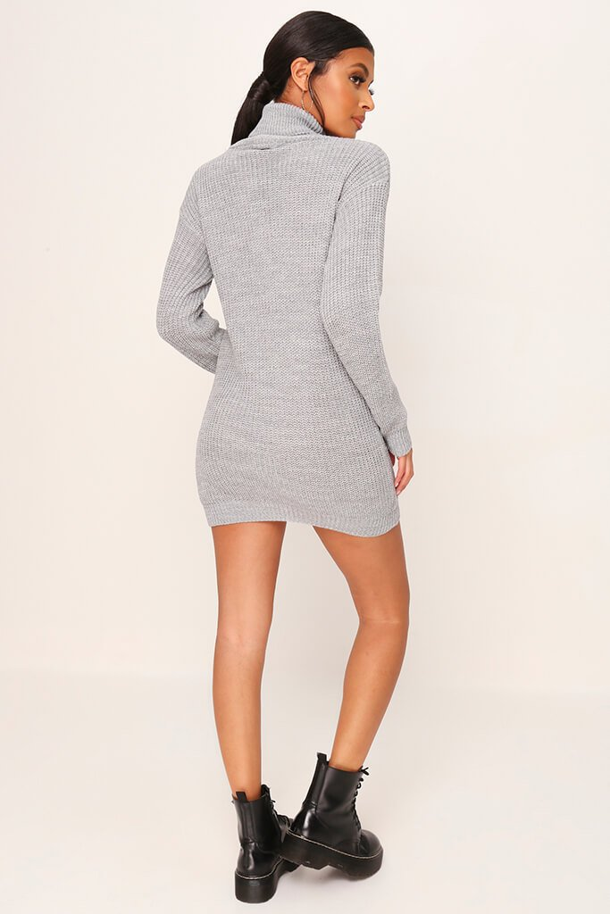 Grey Roll Neck Jumper Dress view 5