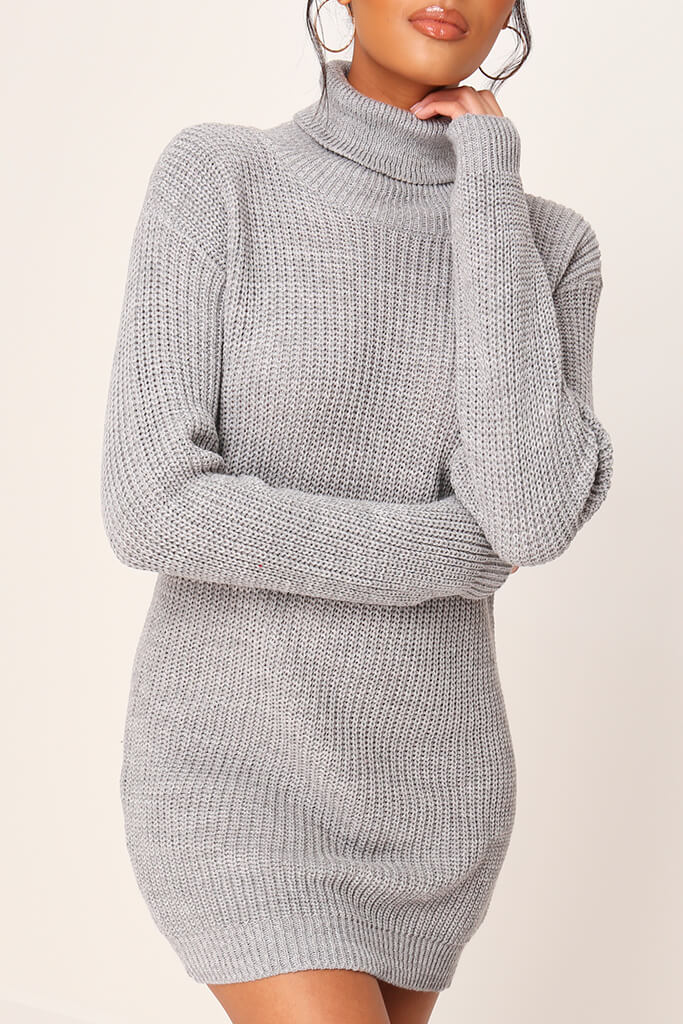 Grey Roll Neck Jumper Dress view 4