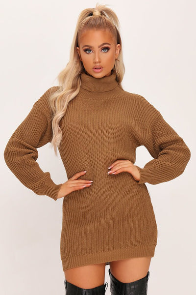 Camel Roll Neck Jumper Dress by I Saw It First