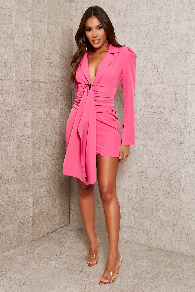 Hot Pink Premium Woven Crepe Shoulder Pad Drape Belted Blazer Dress view 2
