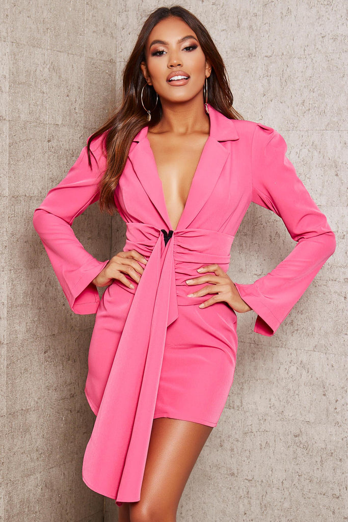 Hot Pink Premium Woven Crepe Shoulder Pad Drape Belted Blazer Dress view main view
