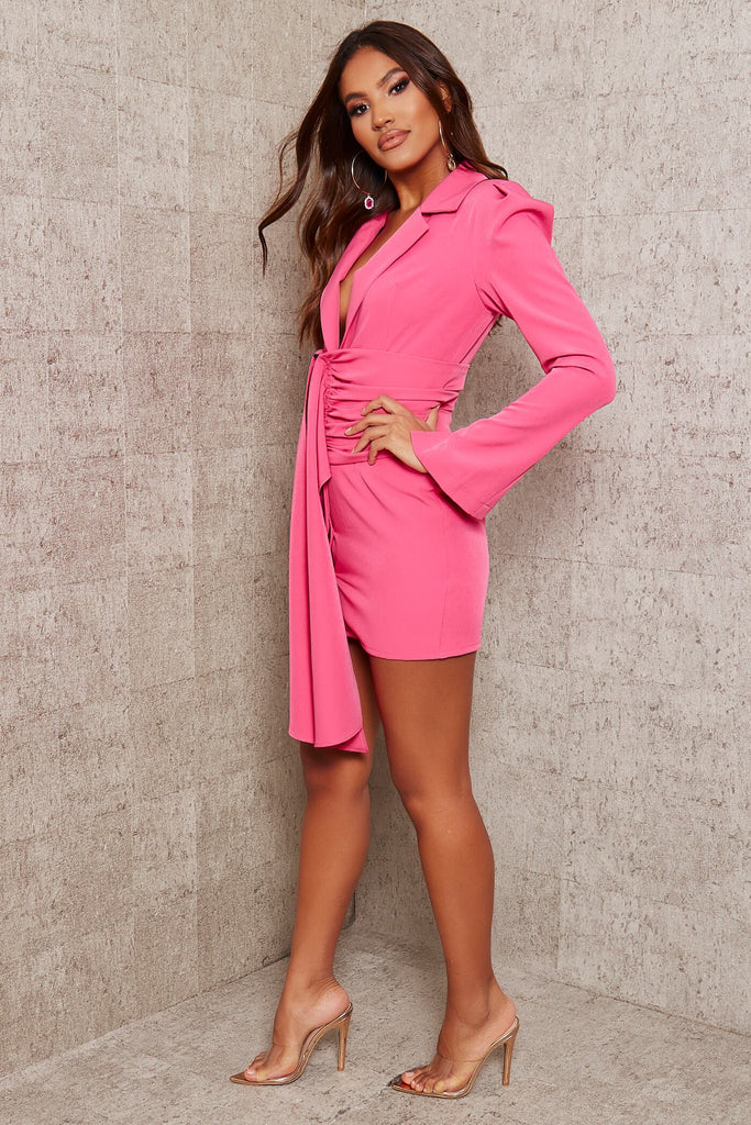 Hot Pink Premium Woven Crepe Shoulder Pad Drape Belted Blazer Dress view 3