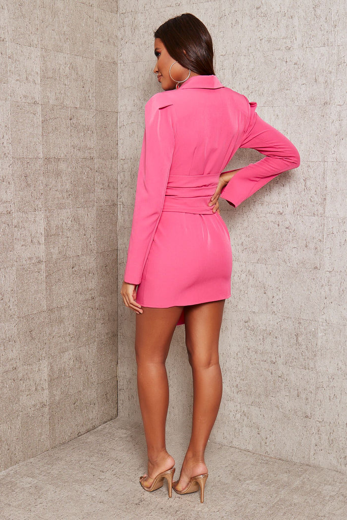 Hot Pink Premium Woven Crepe Shoulder Pad Drape Belted Blazer Dress view 5