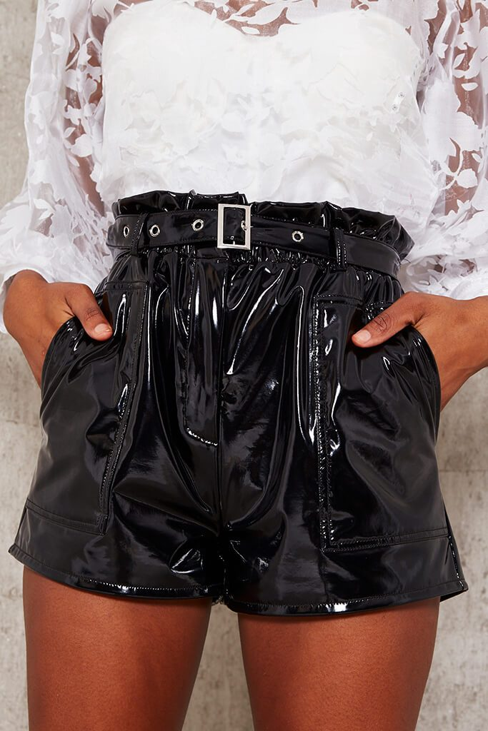 Black Faux Leather Belted Paperbag Shorts view 4