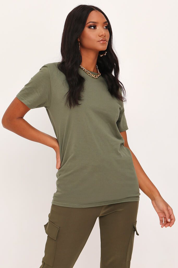 Khaki Basic Crew Neck Over Sized T Shirt view main view