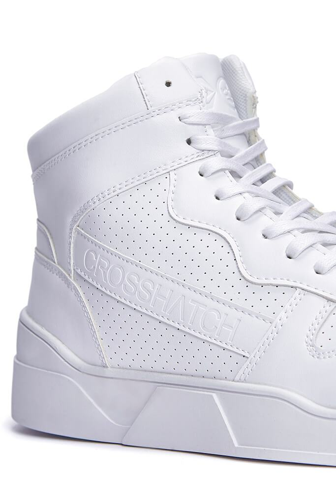 White Men's Faux Leather High Top Trainers view 4
