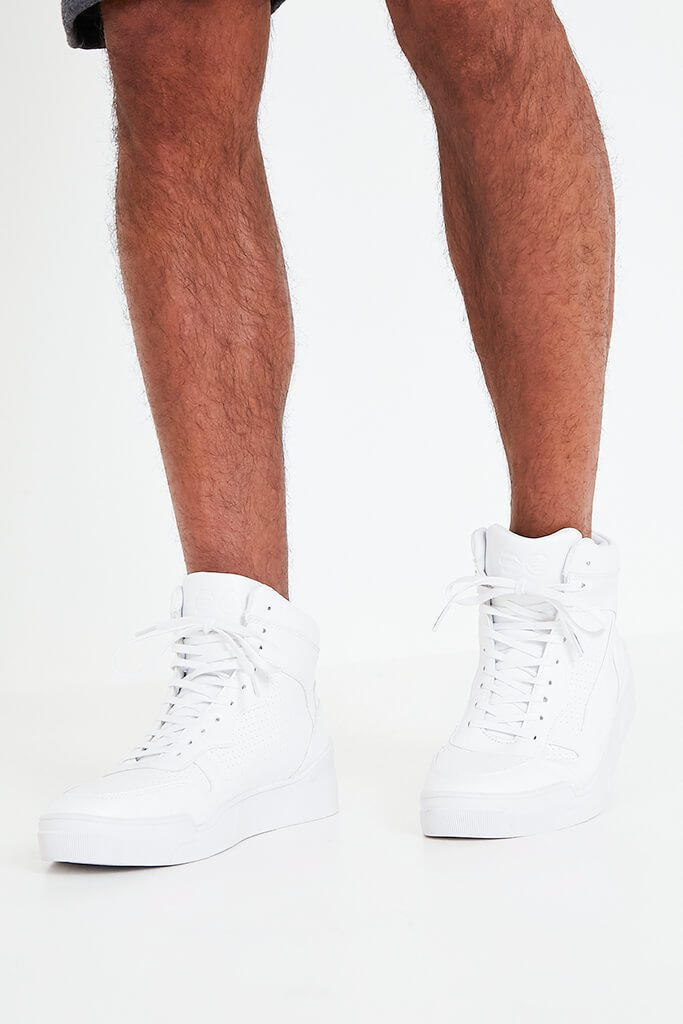 White Men's Faux Leather High Top Trainers