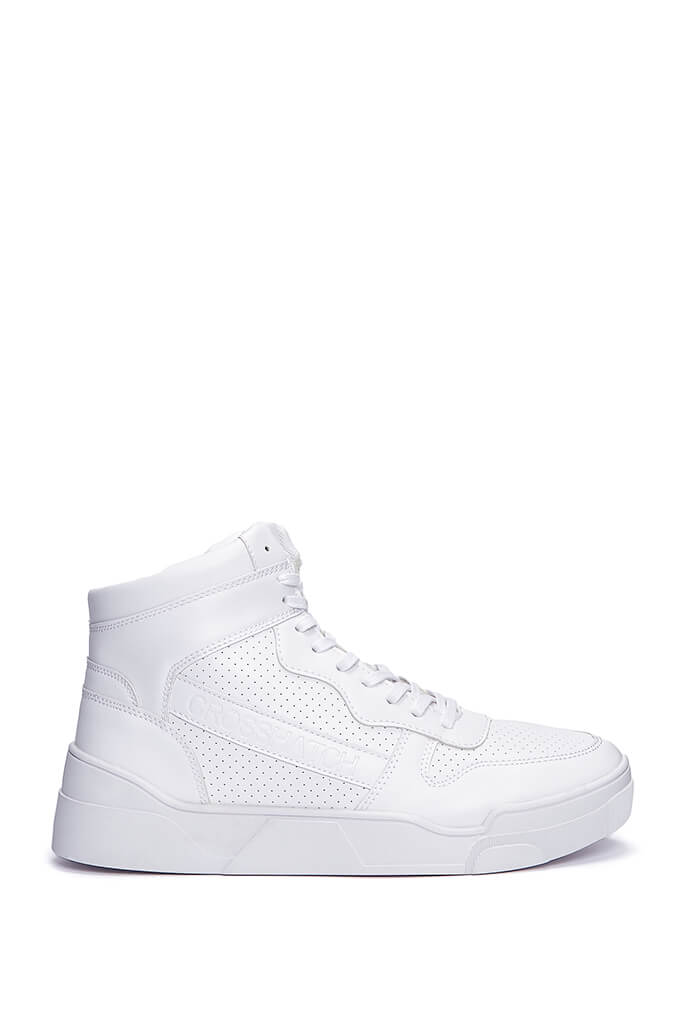 White Men's Faux Leather High Top Trainers view 3