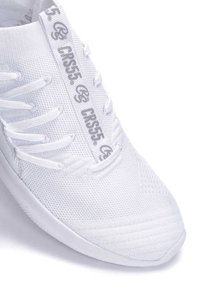 White Mens Terreiro White Heel Laced Trainers view 4