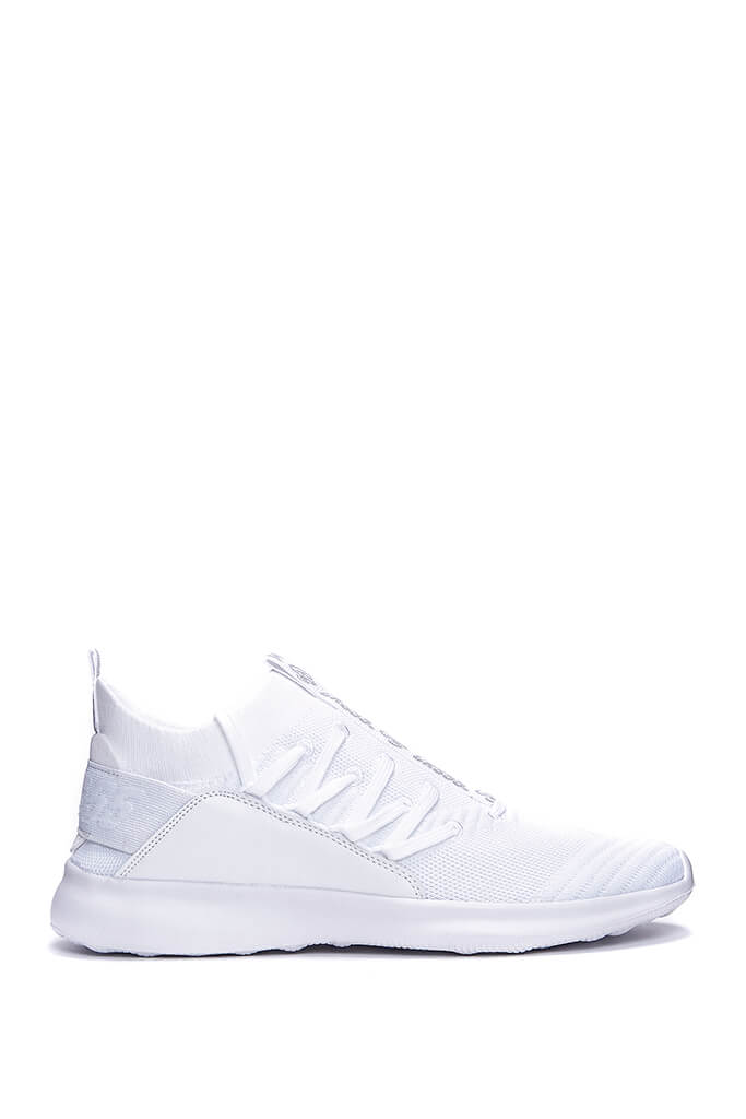 White Mens Terreiro White Heel Laced Trainers view 3