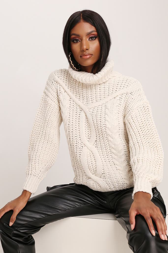 Stone Cable Knit Roll Neck Jumper