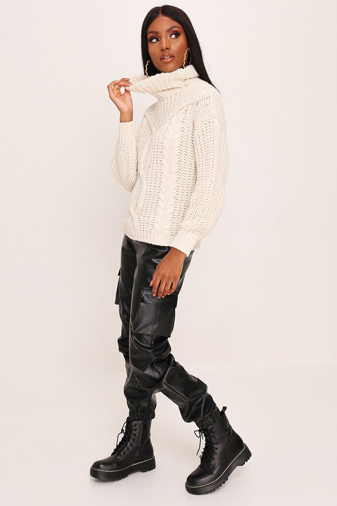 Stone Cable Knit Roll Neck Jumper view 3