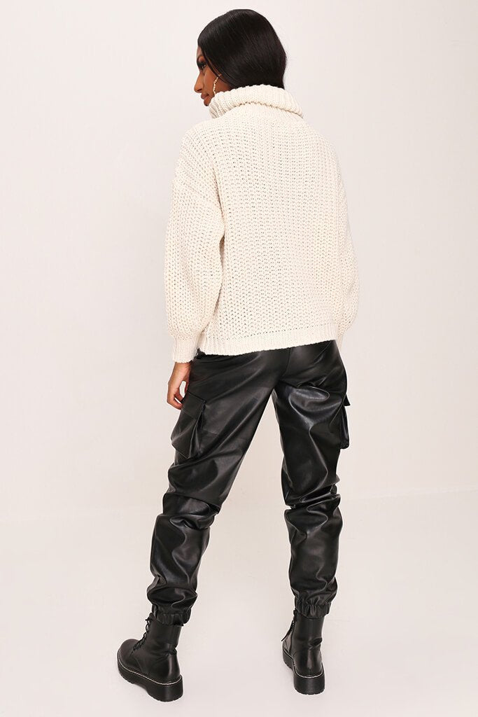 Stone Cable Knit Roll Neck Jumper view 5