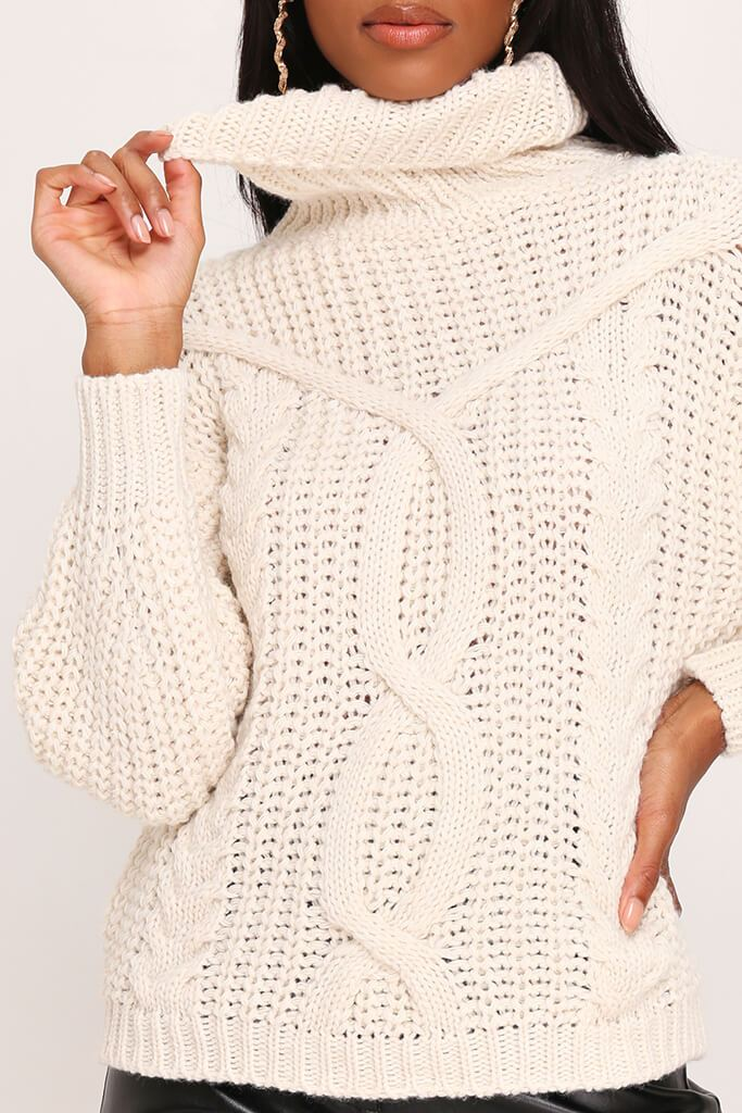 Stone Cable Knit Roll Neck Jumper view 4