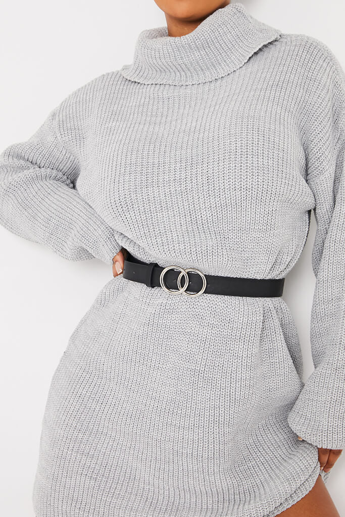 Grey Oversized Roll Neck Jumper Dress view 5