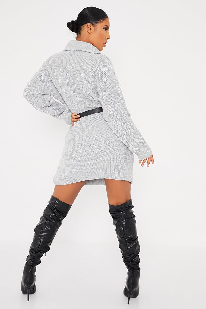 Grey Oversized Roll Neck Jumper Dress view 4