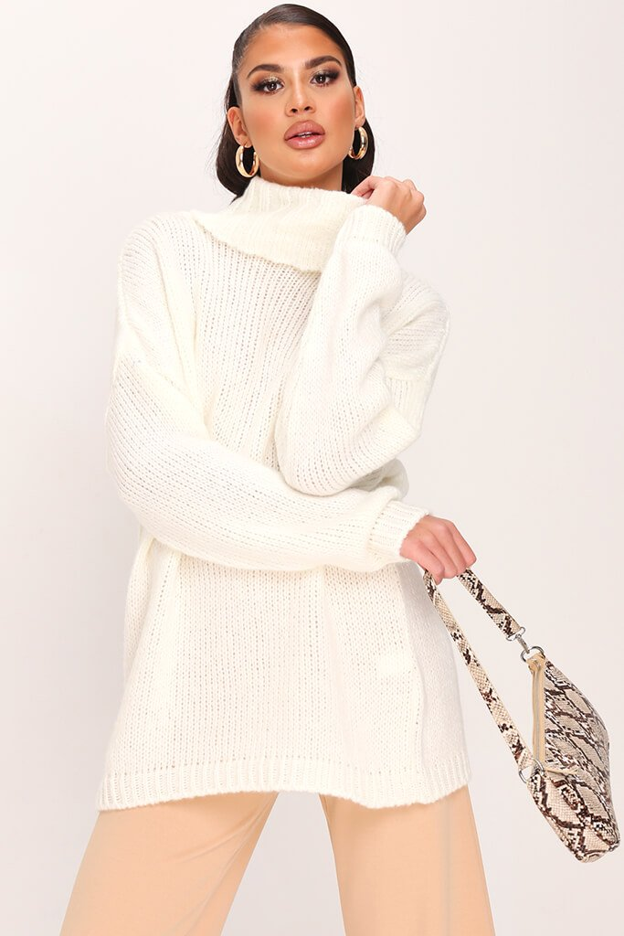 Cream Soft Touch Knitted Roll Neck Jumper
