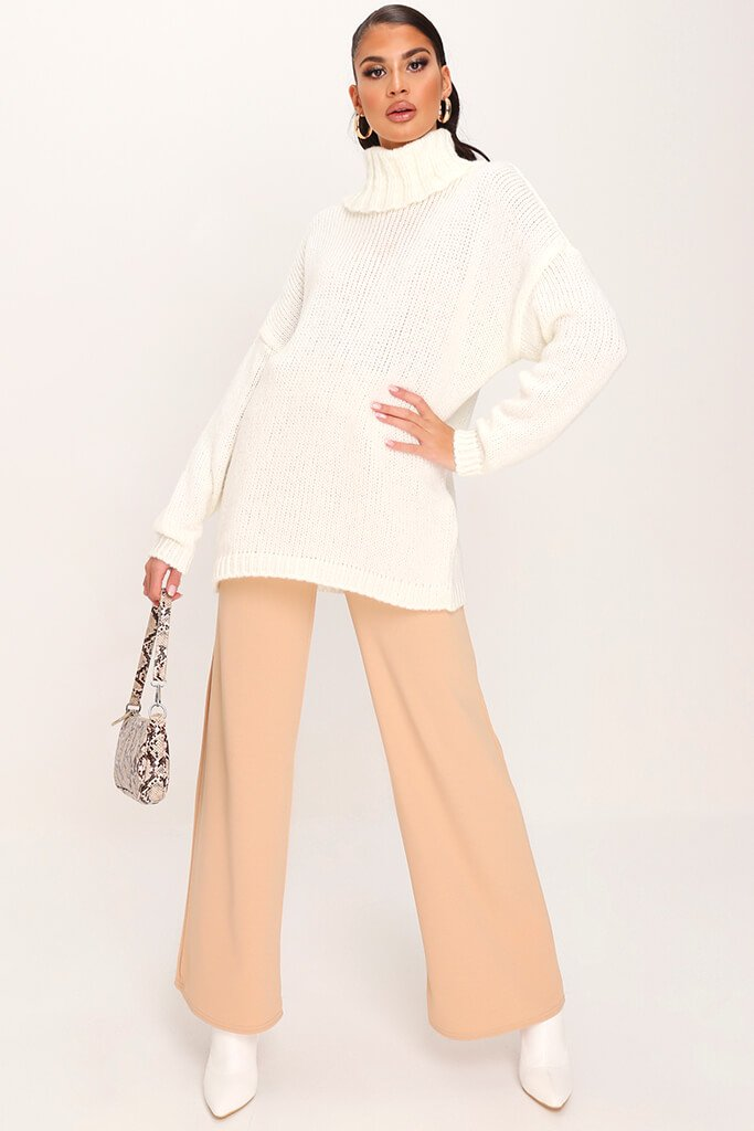 Cream Soft Touch Knitted Roll Neck Jumper view 2