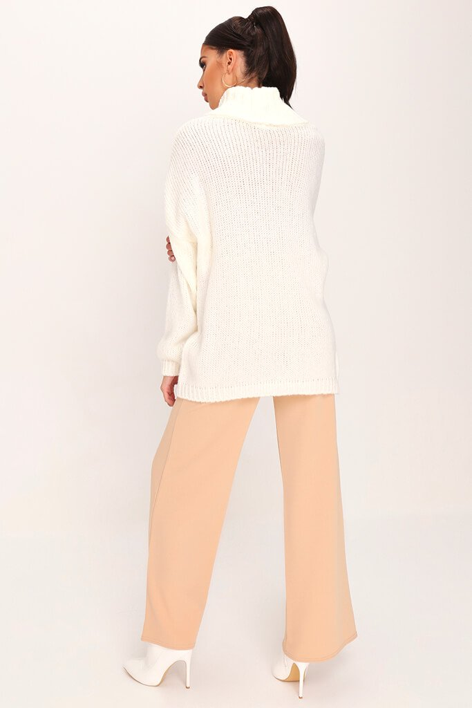 Cream Soft Touch Knitted Roll Neck Jumper view 5