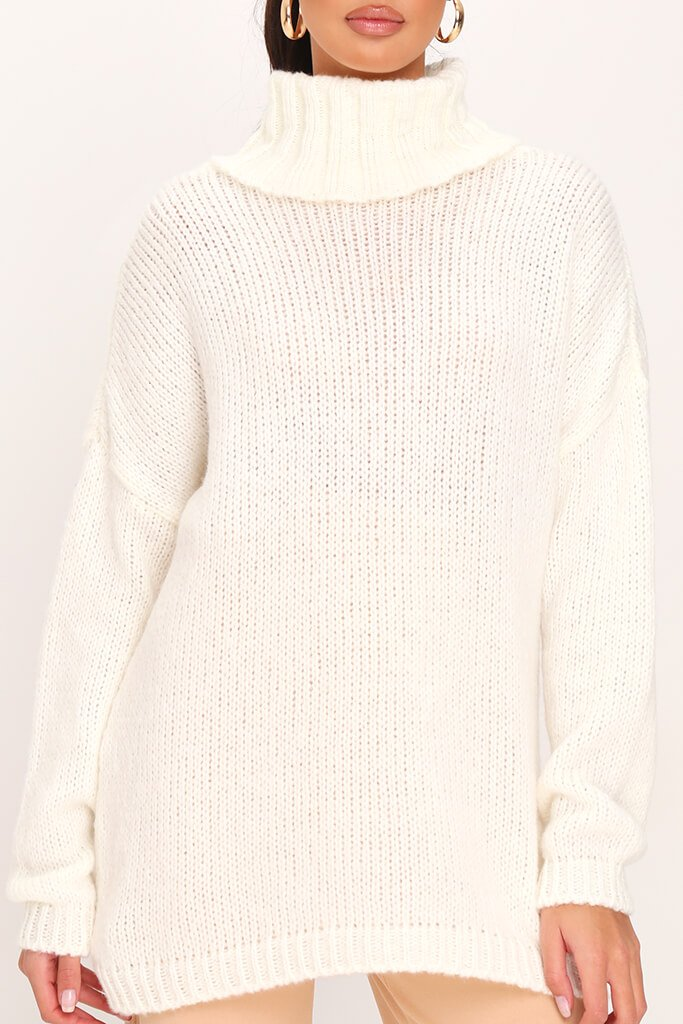 Cream Soft Touch Knitted Roll Neck Jumper view 4