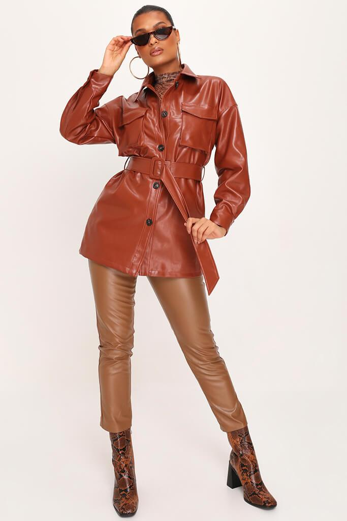 IA00376611-6-faux-leather-utility-jacket-mid-brown-jla007943 view 2