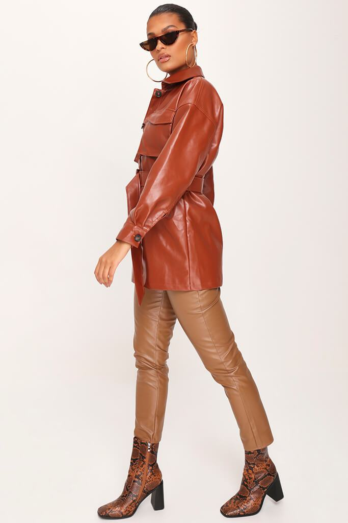 IA00376611-8-faux-leather-utility-jacket-mid-brown-jla007943 view 3