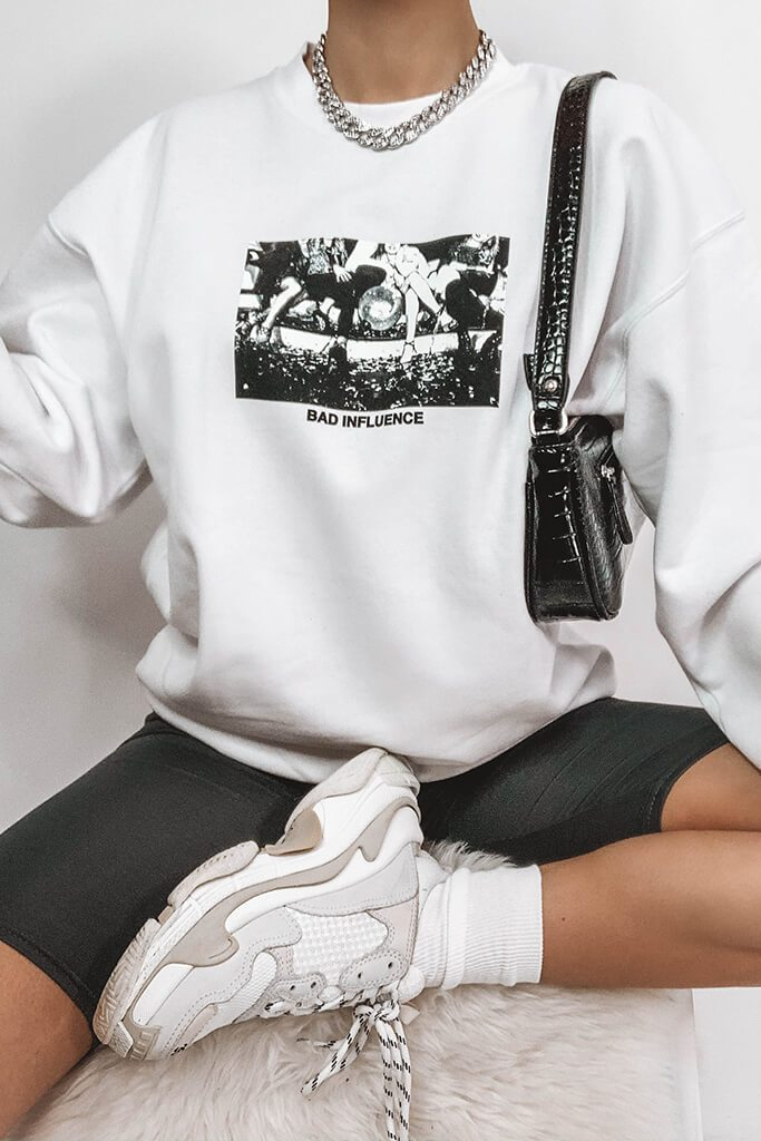 White Bad Influence Photo Graphic Sweatshirt