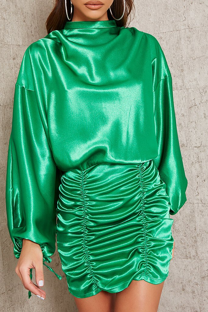 Green Satin High Neck Balloon Sleeve Ruched Front Dress view 4